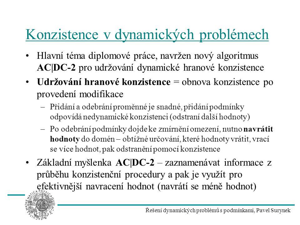 Řešení dynamických problémů s podmínkami, Pavel Surynek Konzistence v dynamických problémech Hlavní téma diplomové práce, navržen nový algoritmus AC|D