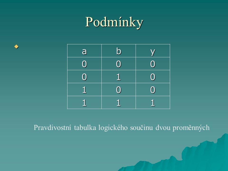 Podmínky  aby 000 010 100 111 Pravdivostní tabulka logického součinu dvou proměnných
