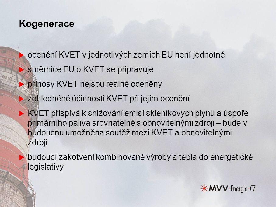 Kogenerace  ocenění KVET v jednotlivých zemích EU není jednotné  směrnice EU o KVET se připravuje  přínosy KVET nejsou reálně oceněny  zohledněné účinnosti KVET při jejím ocenění  KVET přispívá k snižování emisí skleníkových plynů a úspoře primárního paliva srovnatelně s obnovitelnými zdroji – bude v budoucnu umožněna soutěž mezi KVET a obnovitelnými zdroji  budoucí zakotvení kombinované výroby a tepla do energetické legislativy