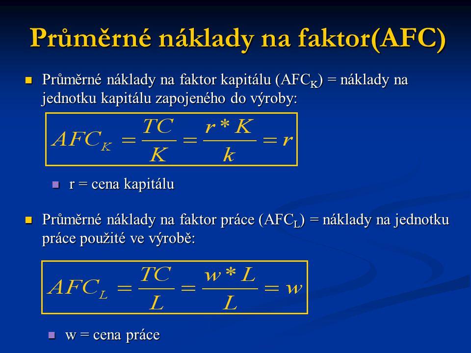 Průměrné náklady na faktor kapitálu (AFC K ) = náklady na jednotku kapitálu zapojeného do výroby: Průměrné náklady na faktor kapitálu (AFC K ) = náklady na jednotku kapitálu zapojeného do výroby: Průměrné náklady na faktor(AFC) r = cena kapitálu r = cena kapitálu Průměrné náklady na faktor práce (AFC L ) = náklady na jednotku práce použité ve výrobě: Průměrné náklady na faktor práce (AFC L ) = náklady na jednotku práce použité ve výrobě: w = cena práce w = cena práce