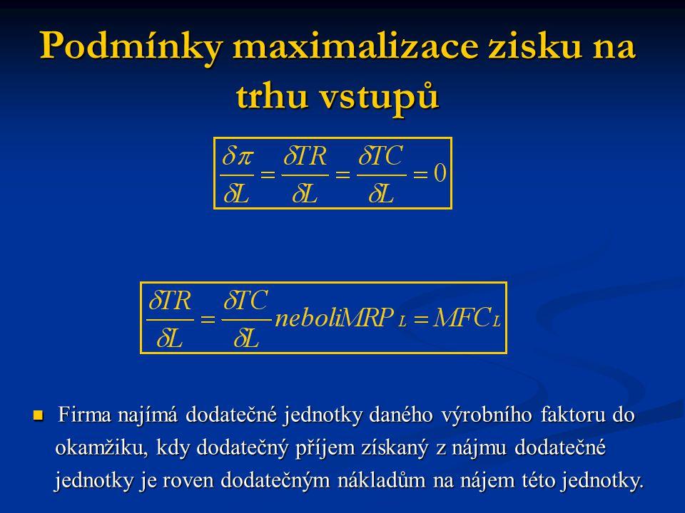 Podmínky druhého řádu pro maximalizaci zisku Předpokládáme dvě proměnné funkce zisku (K a L).