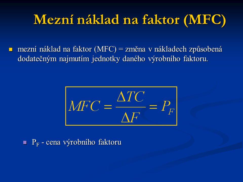 Mezní náklady mezní náklad na faktor kapitálu (MFC K ) = dodatečné náklady, které firmě vzniknou zapojením dodatečné jednotky kapitálu mezní náklad na faktor kapitálu (MFC K ) = dodatečné náklady, které firmě vzniknou zapojením dodatečné jednotky kapitálu mezní náklad na faktor práce (MFC L ) = změna celkových nákladů firmy způsobené změnou objemu práce o jednotku.