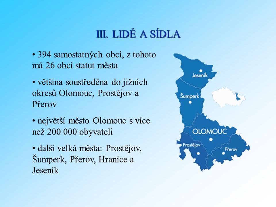 394 samostatných obcí, z tohoto má 26 obcí statut města většina soustředěna do jižních okresů Olomouc, Prostějov a Přerov největší město Olomouc s víc