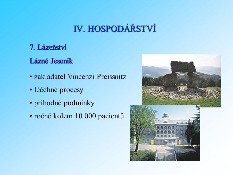 7. Lázeňství zakladatel Vincenzi Preissnitz léčebné procesy příhodné podmínky ročně kolem 10 000 pacientů IV. HOSPODÁŘSTVÍ Lázně Jeseník
