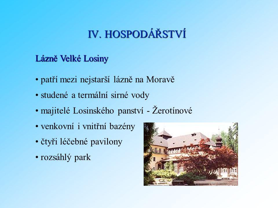 Lázně Velké Losiny patří mezi nejstarší lázně na Moravě studené a termální sirné vody majitelé Losinského panství - Žerotínové venkovní i vnitřní bazé