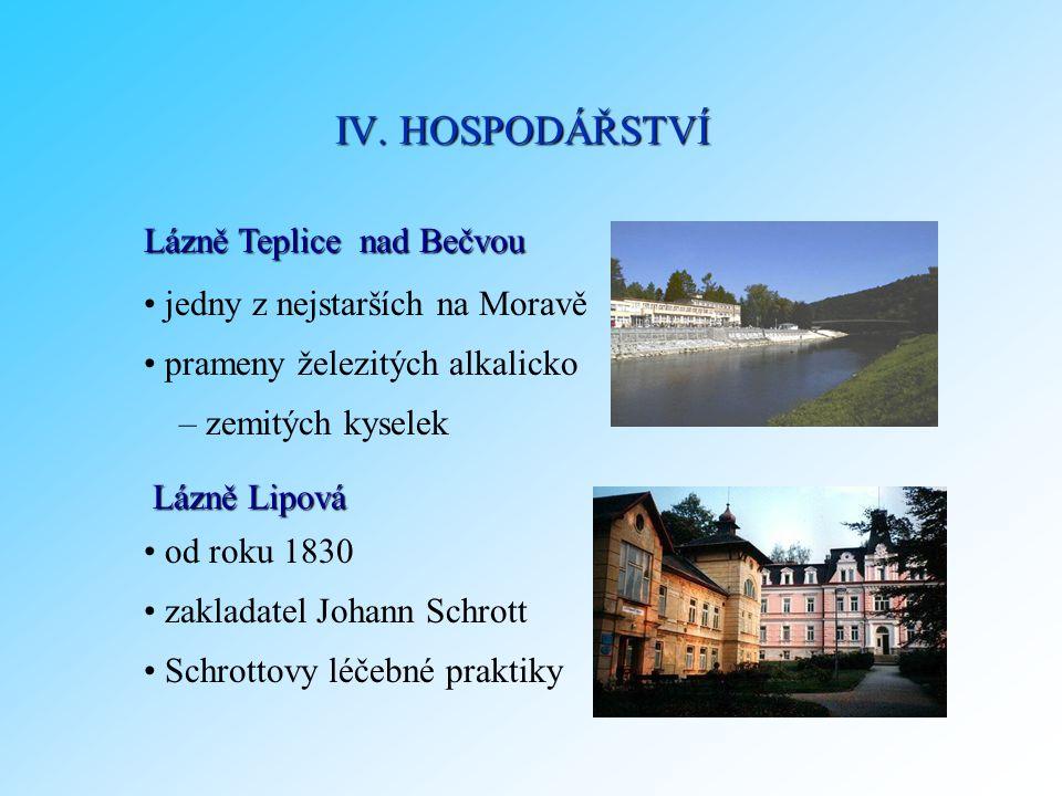 Lázně Teplice nad Bečvou od roku 1830 zakladatel Johann Schrott Schrottovy léčebné praktiky IV. HOSPODÁŘSTVÍ jedny z nejstarších na Moravě prameny žel