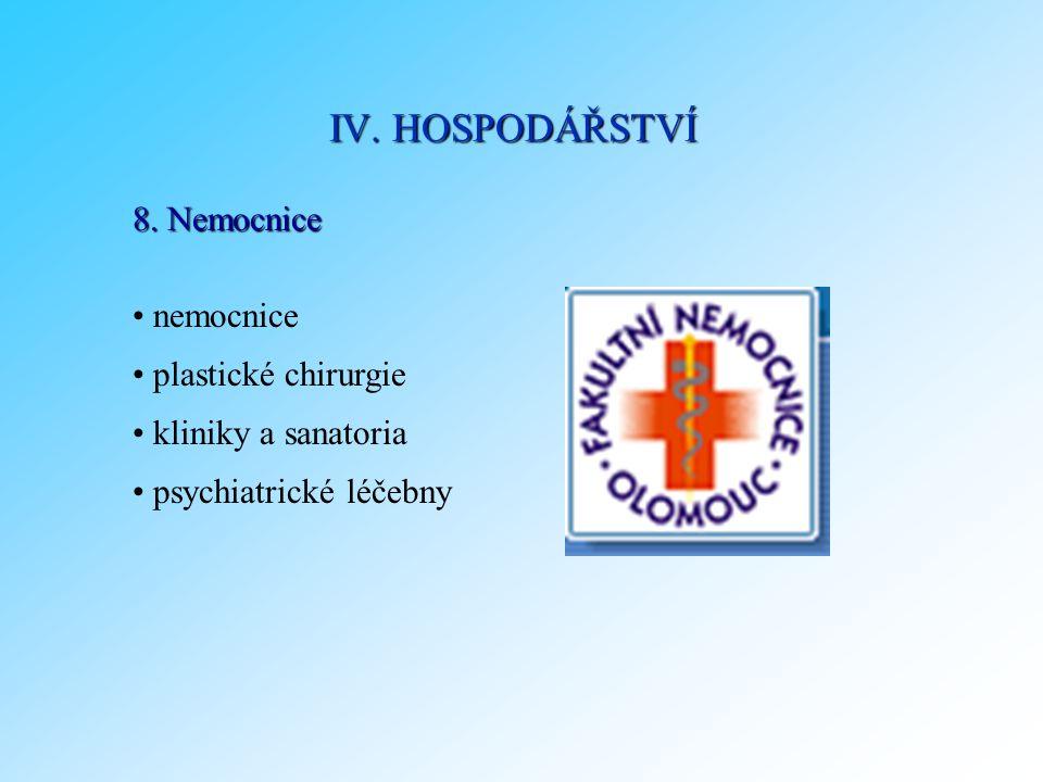 8. Nemocnice nemocnice plastické chirurgie kliniky a sanatoria psychiatrické léčebny IV. HOSPODÁŘSTVÍ