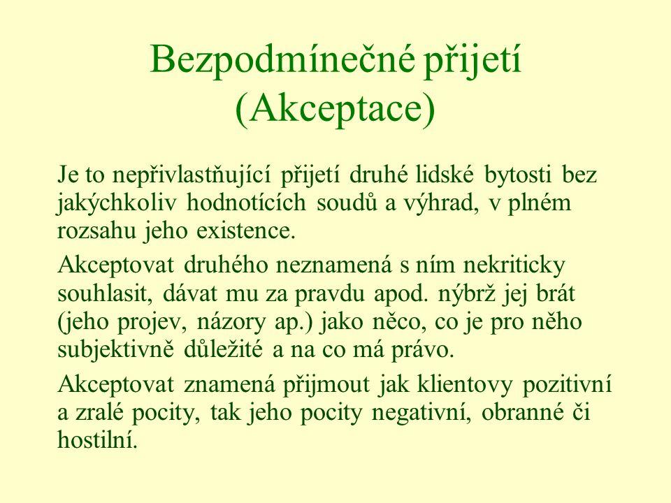 Bezpodmínečné přijetí (Akceptace) Je to nepřivlastňující přijetí druhé lidské bytosti bez jakýchkoliv hodnotících soudů a výhrad, v plném rozsahu jeho