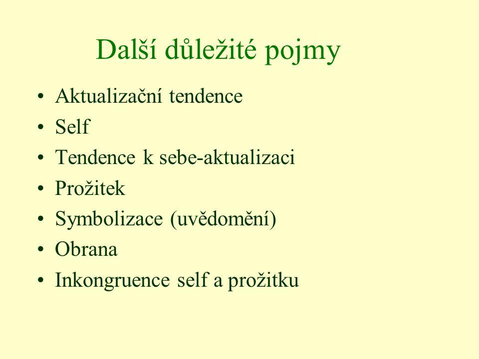 Další důležité pojmy Aktualizační tendence Self Tendence k sebe-aktualizaci Prožitek Symbolizace (uvědomění) Obrana Inkongruence self a prožitku