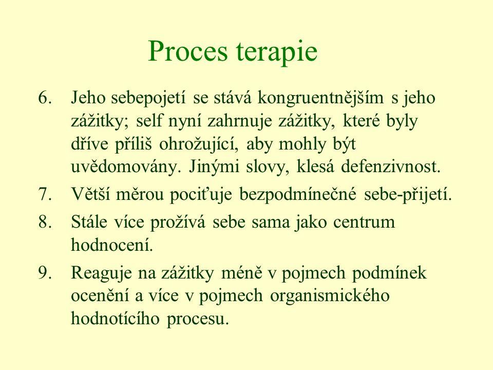 Proces terapie 6.Jeho sebepojetí se stává kongruentnějším s jeho zážitky; self nyní zahrnuje zážitky, které byly dříve příliš ohrožující, aby mohly bý