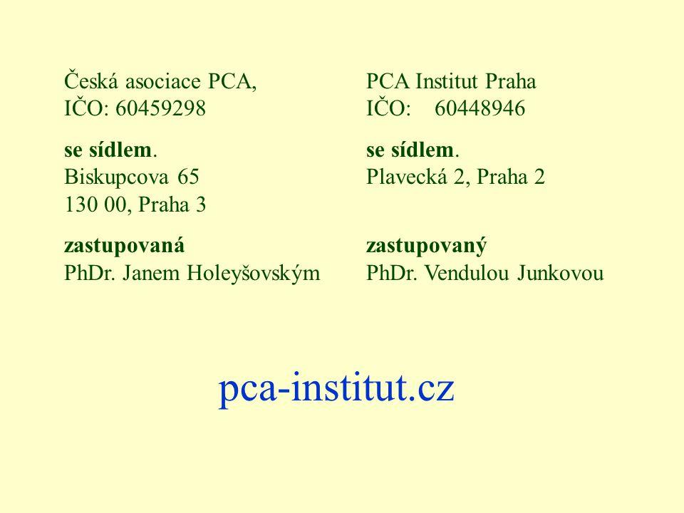 pca-institut.cz Česká asociace PCA, IČO: 60459298 se sídlem. Biskupcova 65 130 00, Praha 3 zastupovaná PhDr. Janem Holeyšovským PCA Institut Praha IČO