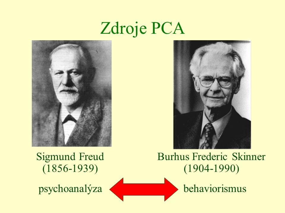 Zdroje PCA Sigmund Freud (1856-1939) Burhus Frederic Skinner (1904-1990) psychoanalýzabehaviorismus