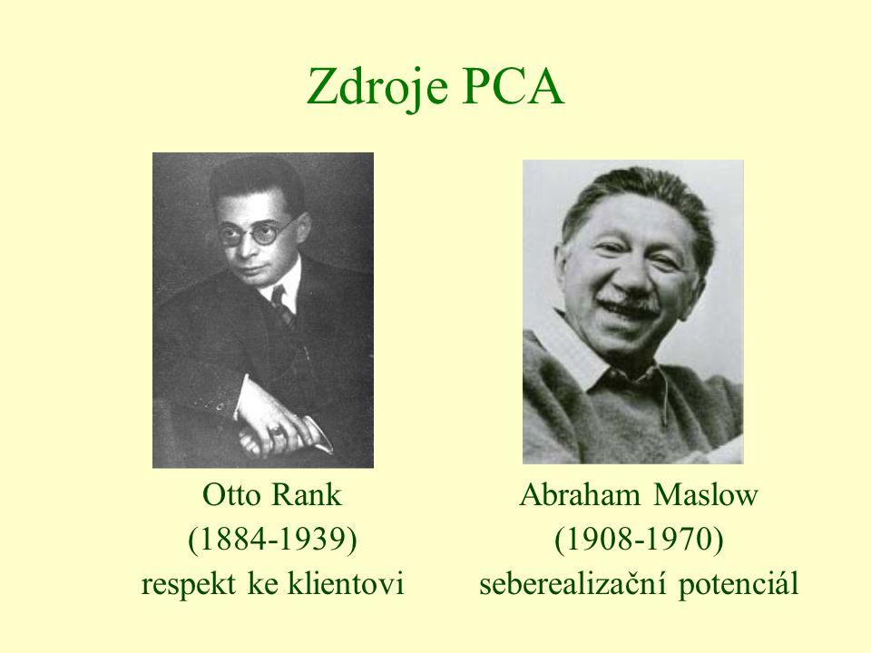 Zdroje PCA Otto Rank (1884-1939) respekt ke klientovi Abraham Maslow (1908-1970) seberealizační potenciál