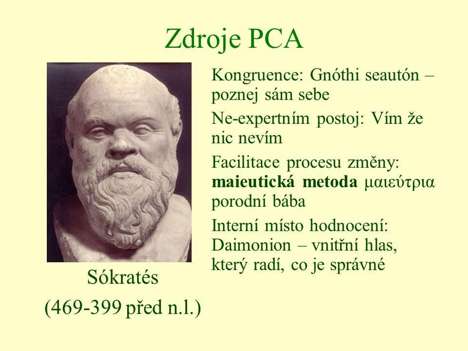 Zdroje PCA Sókratés (469-399 před n.l.) Kongruence: Gnóthi seautón – poznej sám sebe Ne-expertním postoj: Vím že nic nevím Facilitace procesu změny: m