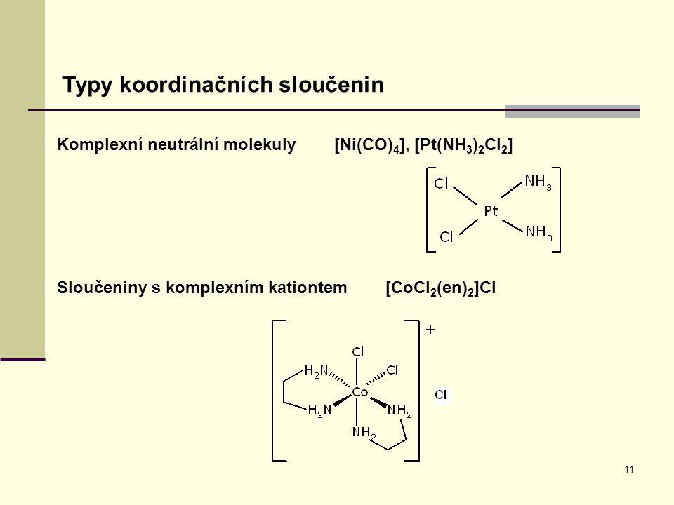 11 Typy koordinačních sloučenin Komplexní neutrální molekuly [Ni(CO) 4 ], [Pt(NH 3 ) 2 Cl 2 ] Sloučeniny s komplexním kationtem [CoCl 2 (en) 2 ]Cl
