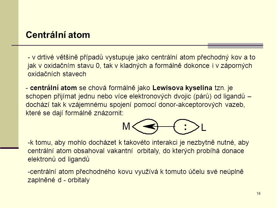 14 Centrální atom - v drtivé většině případů vystupuje jako centrální atom přechodný kov a to jak v oxidačním stavu 0, tak v kladných a formálně dokon
