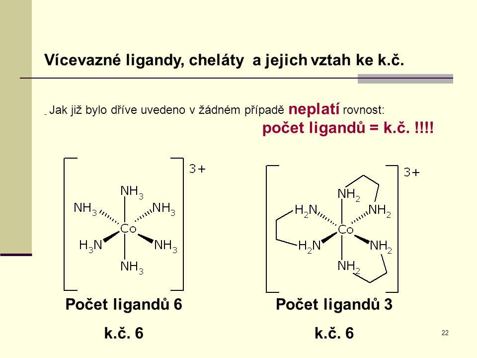 22 Vícevazné ligandy, cheláty a jejich vztah ke k.č. - Jak již bylo dříve uvedeno v žádném případě neplatí rovnost: počet ligandů = k.č. !!!! Počet li