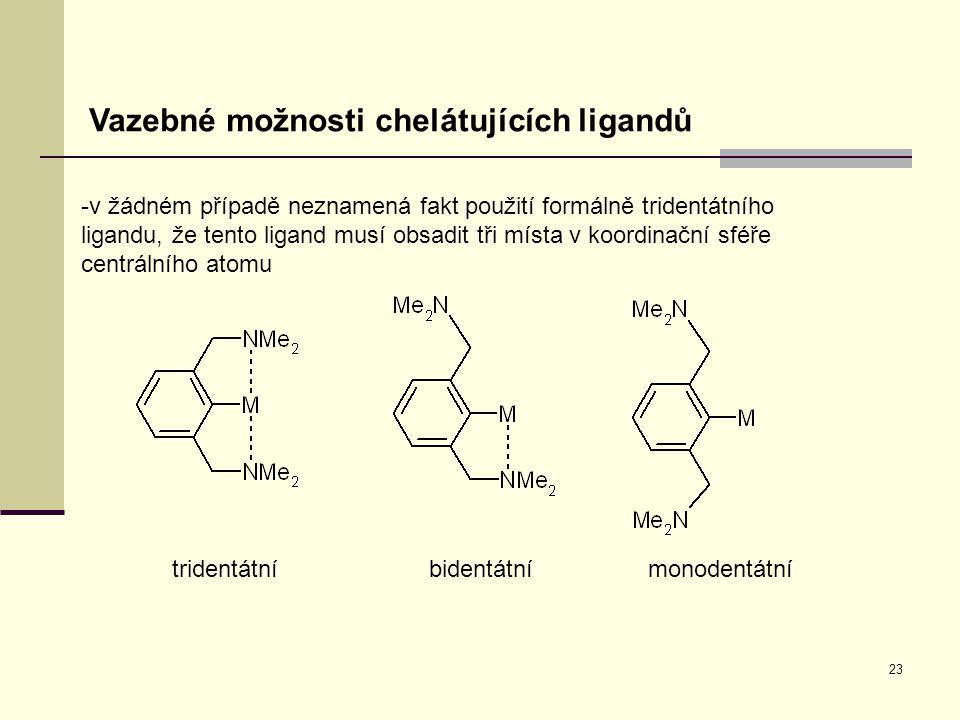 23 Vazebné možnosti chelátujících ligandů -v žádném případě neznamená fakt použití formálně tridentátního ligandu, že tento ligand musí obsadit tři mí