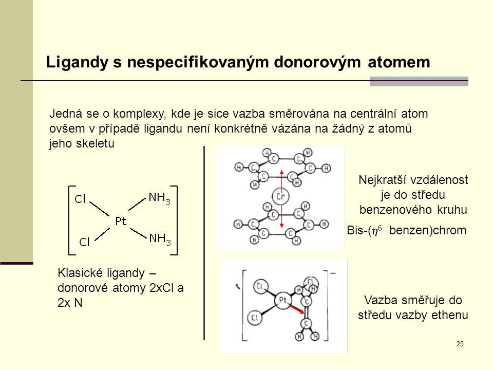 25 Ligandy s nespecifikovaným donorovým atomem Jedná se o komplexy, kde je sice vazba směrována na centrální atom ovšem v případě ligandu není konkrét