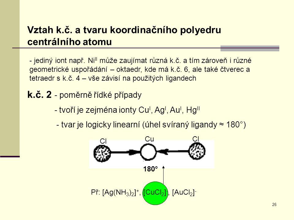 26 Vztah k.č. a tvaru koordinačního polyedru centrálního atomu - jediný iont např. Ni II může zaujímat různá k.č. a tím zároveň i různé geometrické us