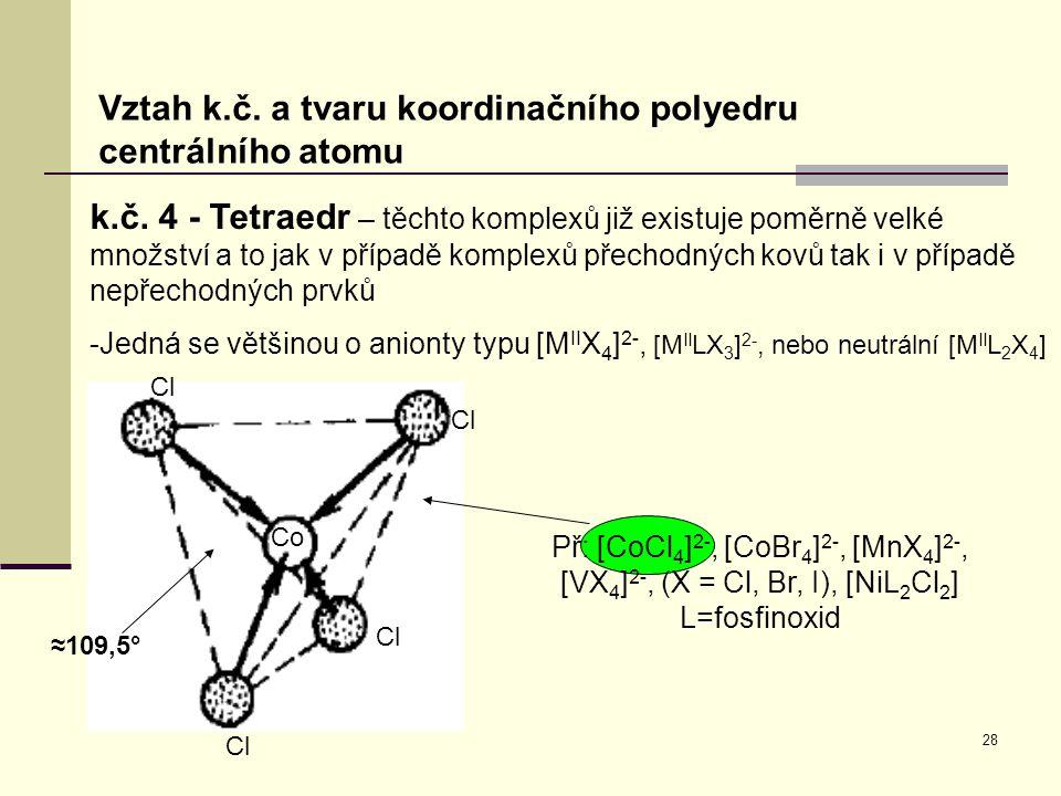 28 Vztah k.č. a tvaru koordinačního polyedru centrálního atomu k.č. 4 - Tetraedr – těchto komplexů již existuje poměrně velké množství a to jak v příp