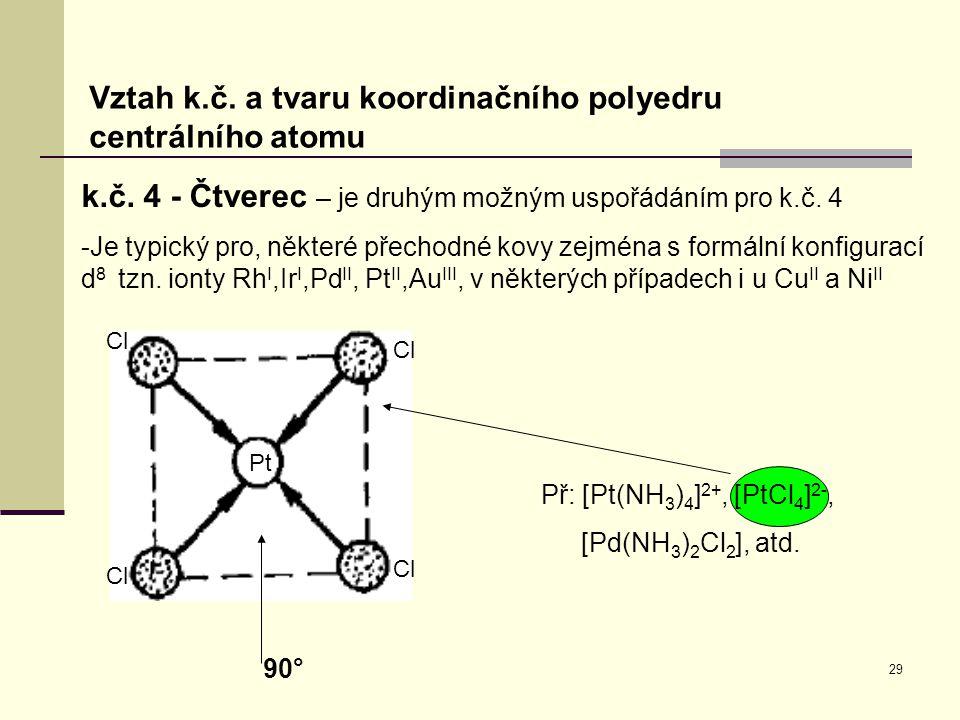 29 Vztah k.č. a tvaru koordinačního polyedru centrálního atomu k.č. 4 - Čtverec – je druhým možným uspořádáním pro k.č. 4 -Je typický pro, některé pře