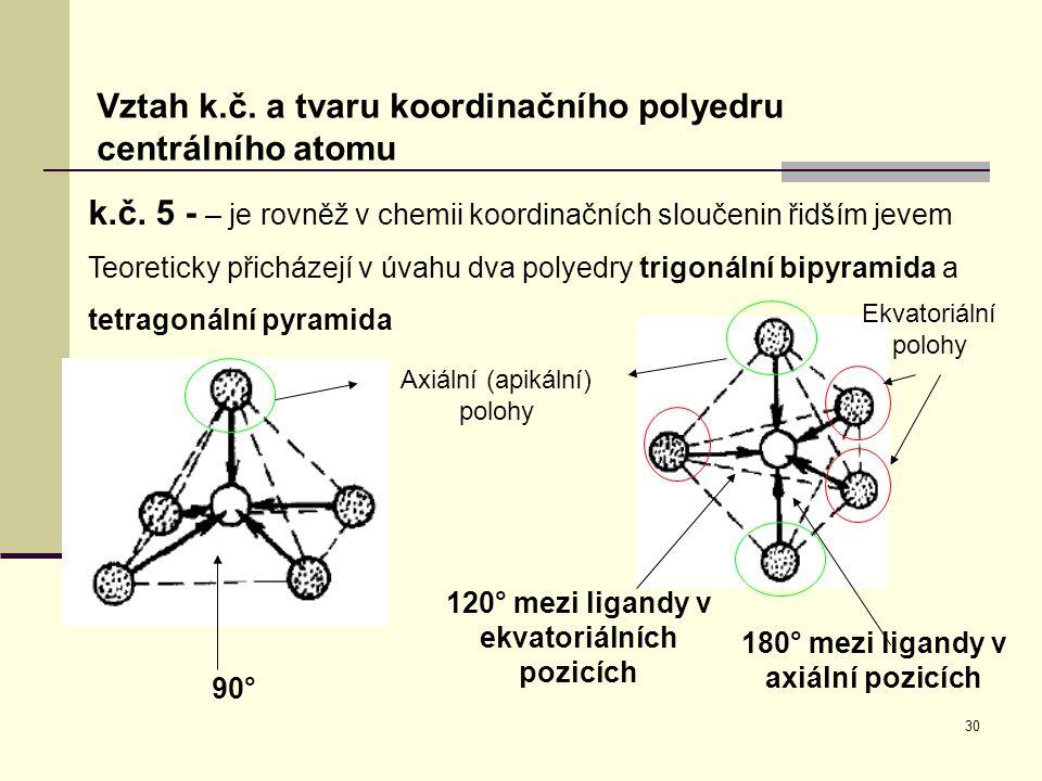 30 Vztah k.č. a tvaru koordinačního polyedru centrálního atomu k.č. 5 - – je rovněž v chemii koordinačních sloučenin řidším jevem Teoreticky přicházej