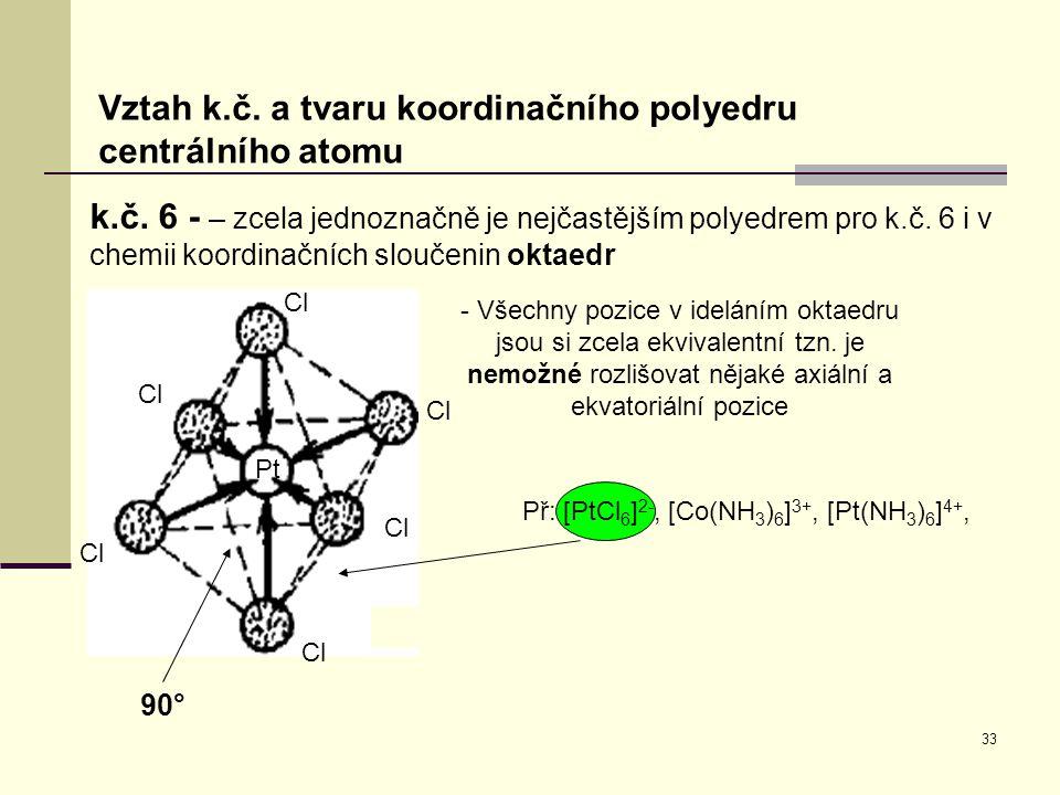 33 Vztah k.č. a tvaru koordinačního polyedru centrálního atomu k.č. 6 - – zcela jednoznačně je nejčastějším polyedrem pro k.č. 6 i v chemii koordinačn