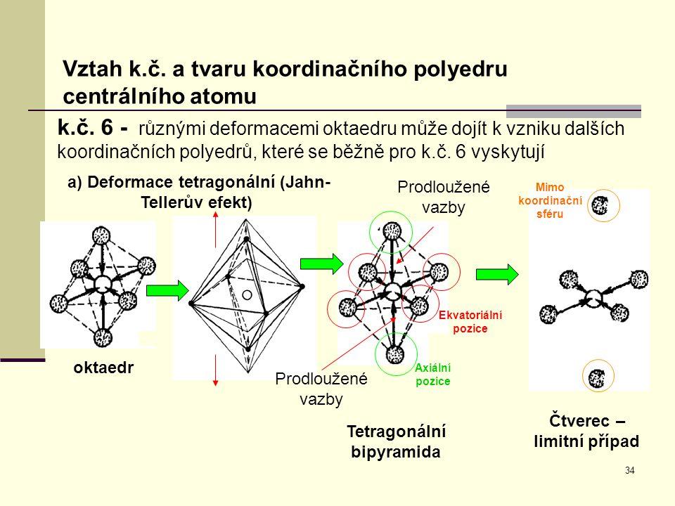 34 Vztah k.č. a tvaru koordinačního polyedru centrálního atomu k.č. 6 - různými deformacemi oktaedru může dojít k vzniku dalších koordinačních polyedr