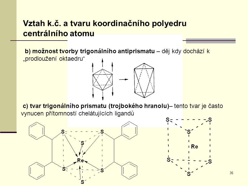 """36 Vztah k.č. a tvaru koordinačního polyedru centrálního atomu b) možnost tvorby trigonálního antiprismatu – děj kdy dochází k """"prodloužení oktaedru"""""""