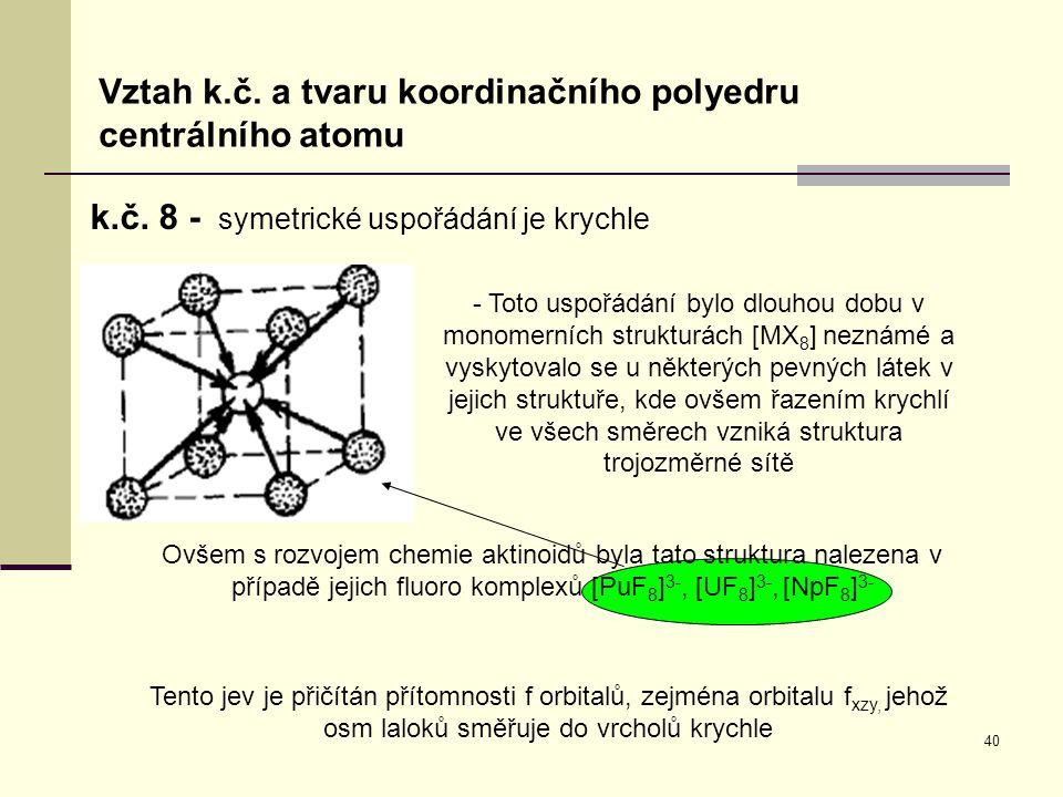 40 Vztah k.č. a tvaru koordinačního polyedru centrálního atomu k.č. 8 - symetrické uspořádání je krychle - Toto uspořádání bylo dlouhou dobu v monomer