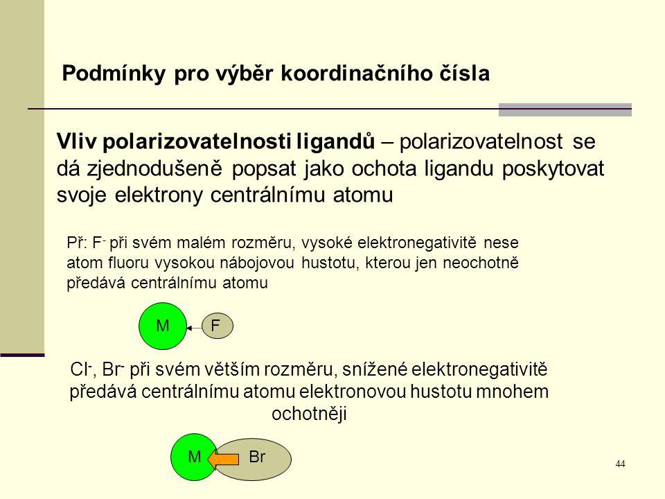 44 Podmínky pro výběr koordinačního čísla Vliv polarizovatelnosti ligandů – polarizovatelnost se dá zjednodušeně popsat jako ochota ligandu poskytovat