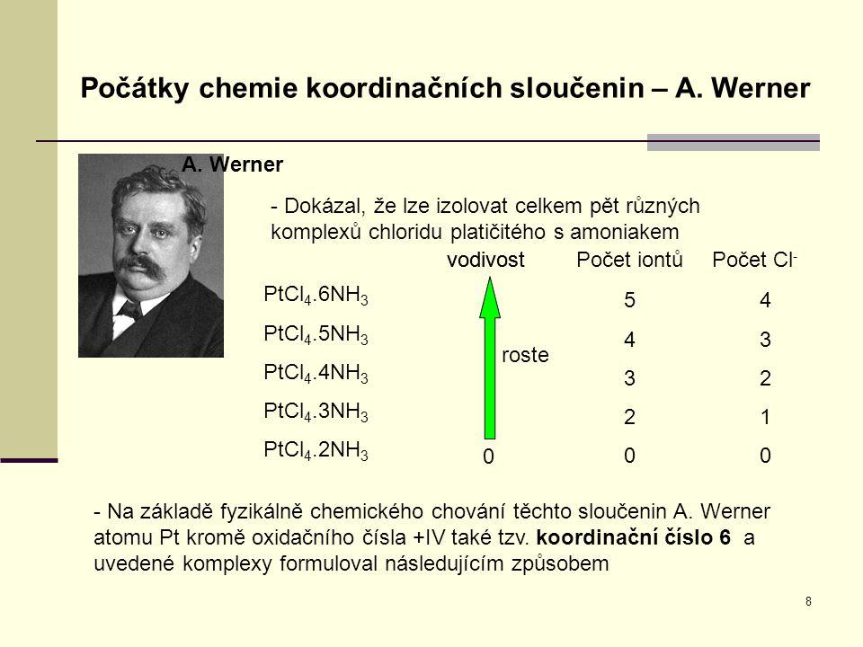 8 Počátky chemie koordinačních sloučenin – A. Werner A. Werner - Dokázal, že lze izolovat celkem pět různých komplexů chloridu platičitého s amoniakem