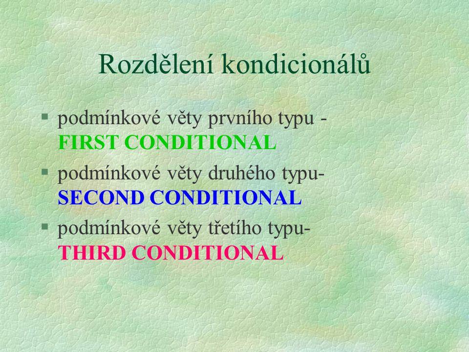 Rozdělení kondicionálů §podmínkové věty prvního typu - FIRST CONDITIONAL §podmínkové věty druhého typu- SECOND CONDITIONAL §podmínkové věty třetího ty