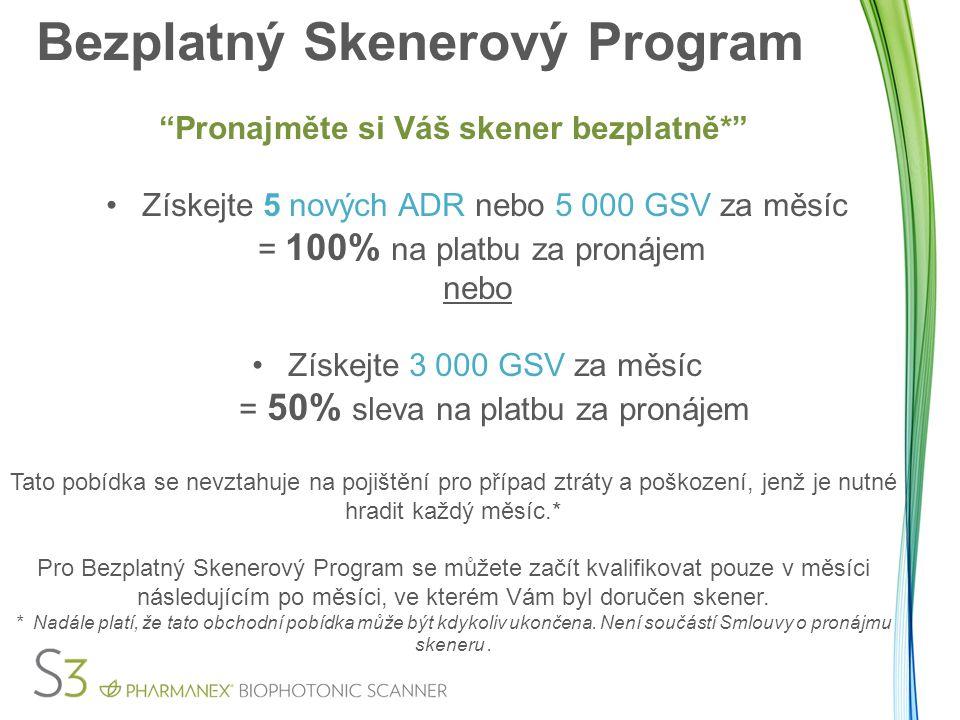 """Bezplatný Skenerový Program """"Pronajměte si Váš skener bezplatně*"""" Získejte 5 nových ADR nebo 5 000 GSV za měsíc = 100% na platbu za pronájem nebo Získ"""