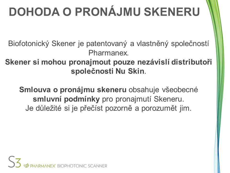 DOHODA O PRONÁJMU SKENERU Biofotonický Skener je patentovaný a vlastněný společností Pharmanex. Skener si mohou pronajmout pouze nezávislí distributoř