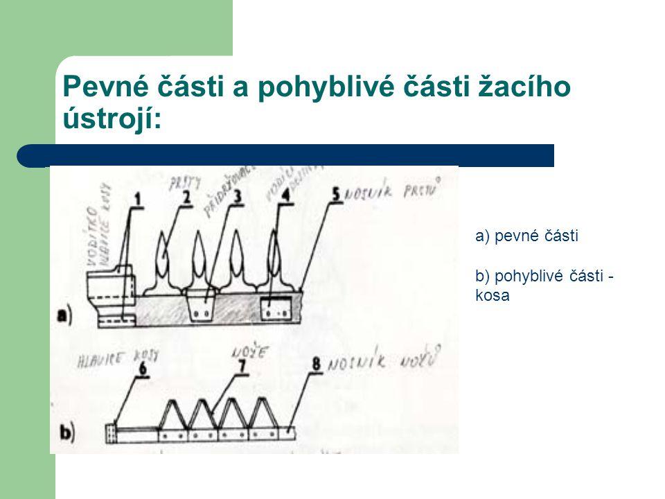 Pevné části a pohyblivé části žacího ústrojí: a) pevné části b) pohyblivé části - kosa