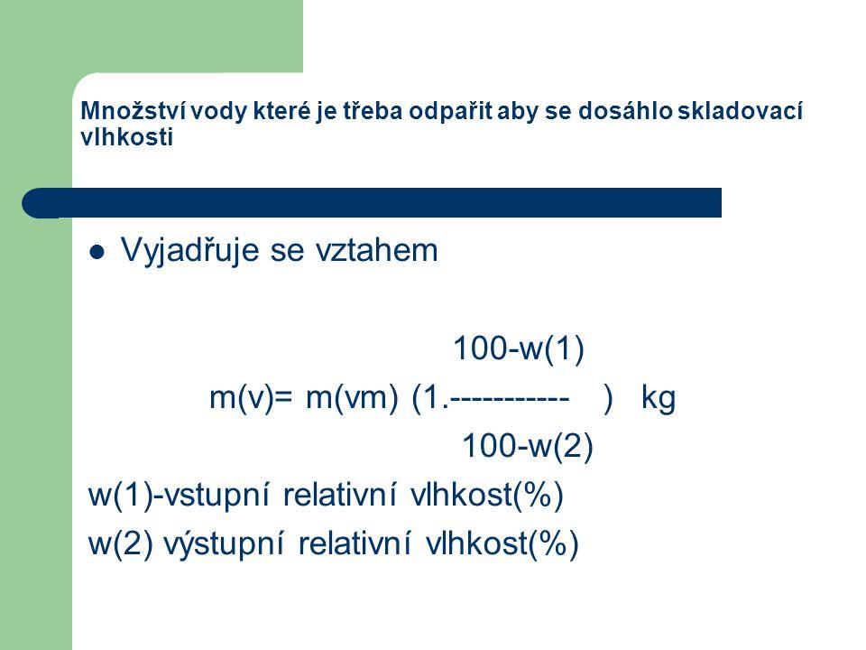 Množství vody které je třeba odpařit aby se dosáhlo skladovací vlhkosti Vyjadřuje se vztahem 100-w(1) m(v)= m(vm) (1.----------- ) kg 100-w(2) w(1)-vs
