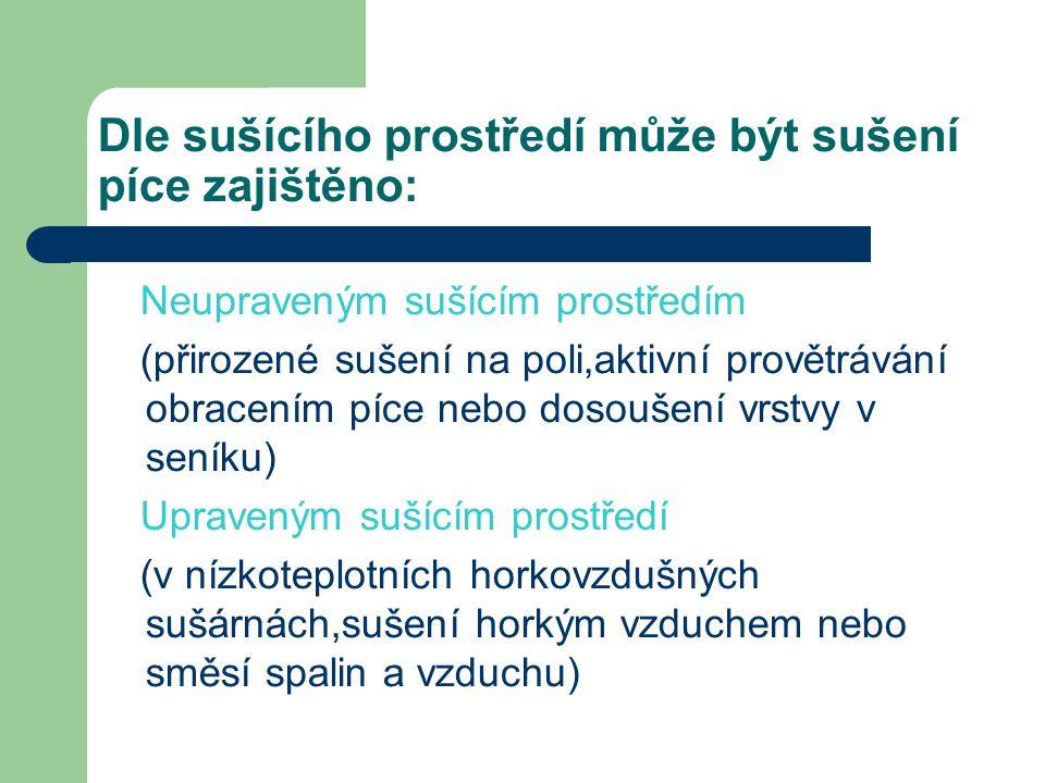 Dle sušícího prostředí může být sušení píce zajištěno: Neupraveným sušícím prostředím (přirozené sušení na poli,aktivní provětrávání obracením píce ne