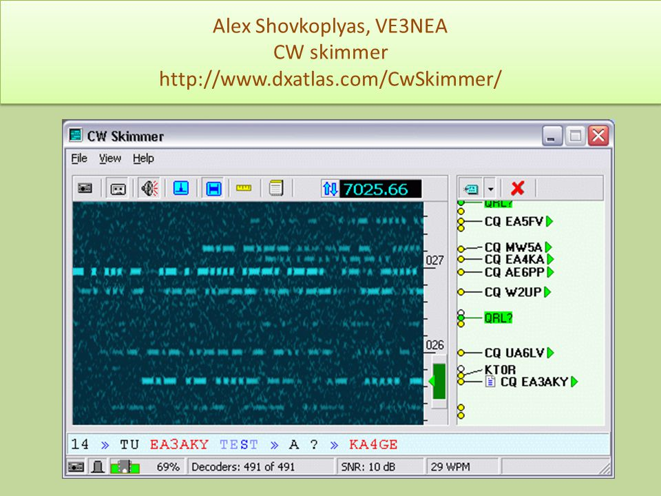 Alex Shovkoplyas, VE3NEA CW skimmer http://www.dxatlas.com/CwSkimmer/