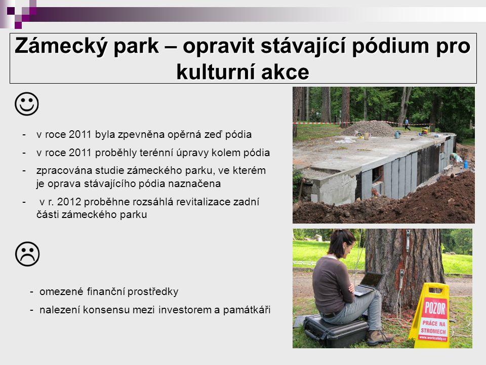 Zámecký park – opravit stávající pódium pro kulturní akce -v roce 2011 byla zpevněna opěrná zeď pódia -v roce 2011 proběhly terénní úpravy kolem pódia -zpracována studie zámeckého parku, ve kterém je oprava stávajícího pódia naznačena - v r.