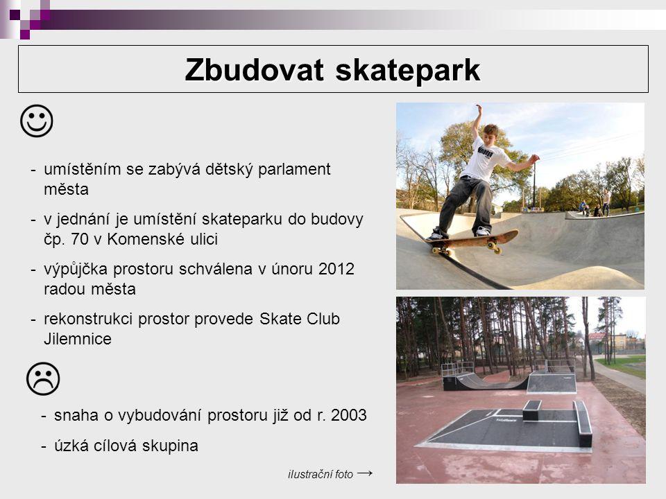 Zbudovat skatepark ilustrační foto → -umístěním se zabývá dětský parlament města -v jednání je umístění skateparku do budovy čp.