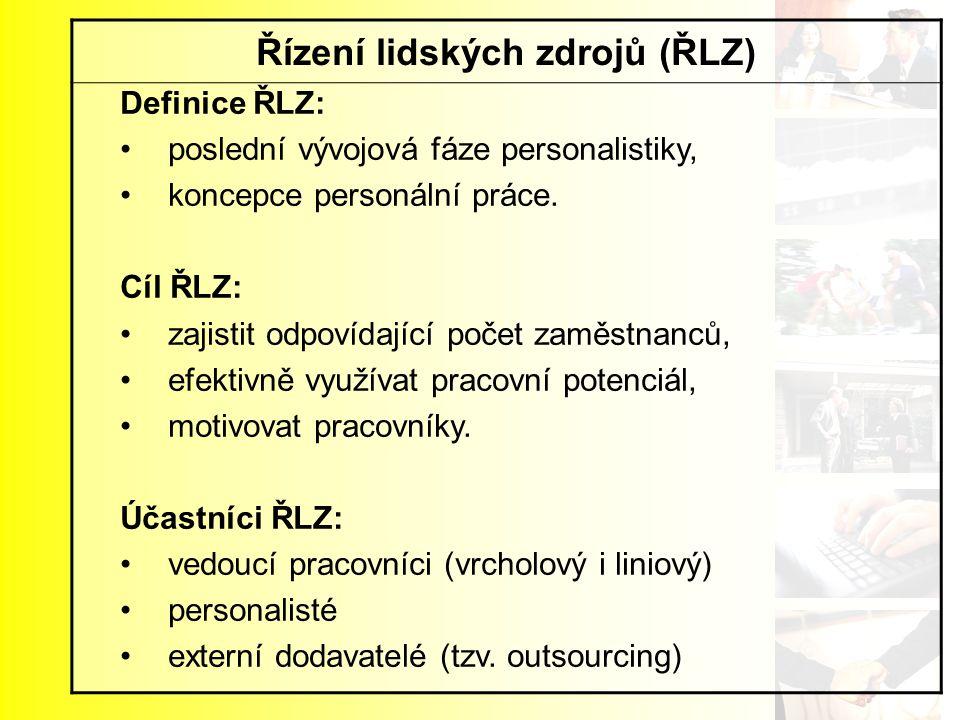 Řízení lidských zdrojů (ŘLZ) Definice ŘLZ: poslední vývojová fáze personalistiky, koncepce personální práce. Cíl ŘLZ: zajistit odpovídající počet zamě