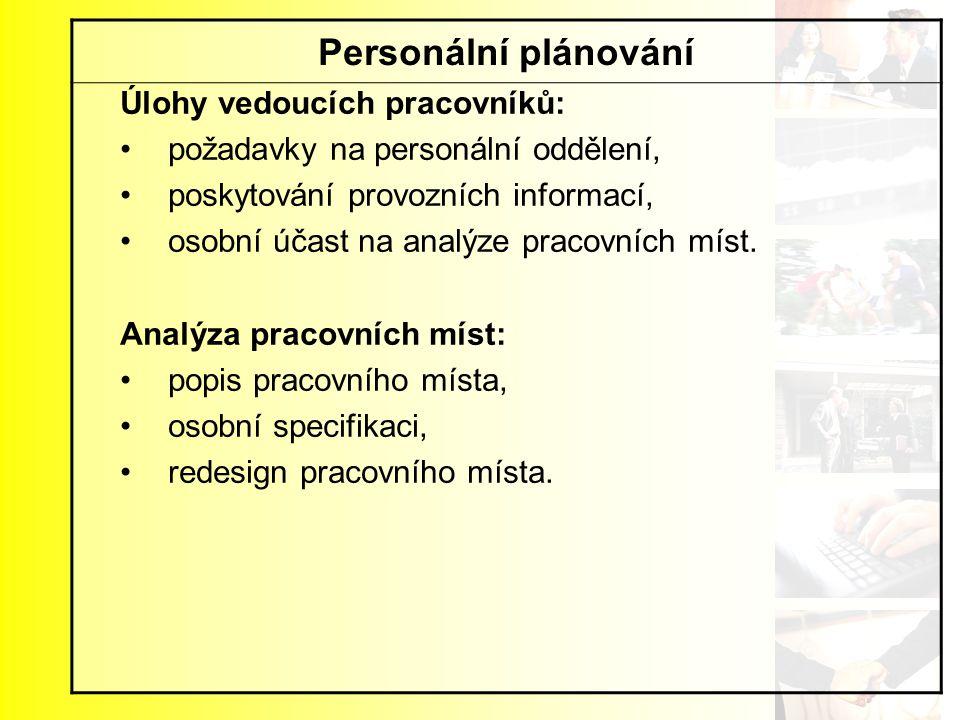 Personální plánování Úlohy vedoucích pracovníků: požadavky na personální oddělení, poskytování provozních informací, osobní účast na analýze pracovníc