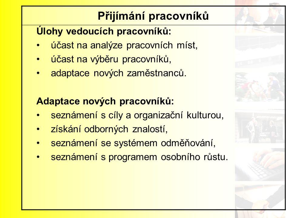 Přijímání pracovníků Úlohy vedoucích pracovníků: účast na analýze pracovních míst, účast na výběru pracovníků, adaptace nových zaměstnanců. Adaptace n