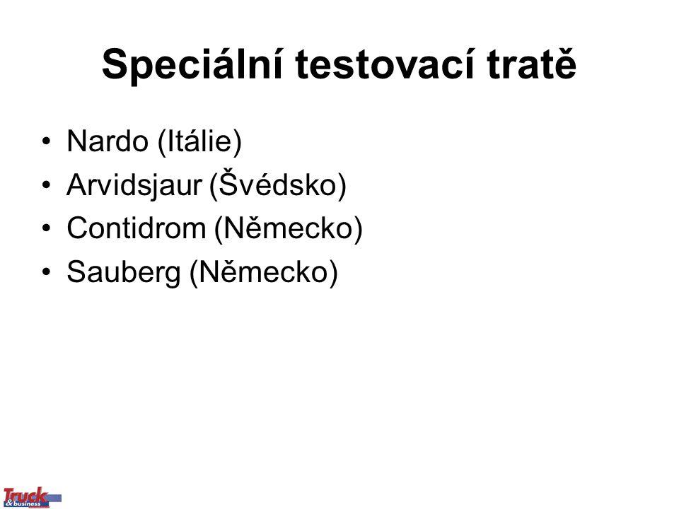 Speciální testovací tratě Nardo (Itálie) Arvidsjaur (Švédsko) Contidrom (Německo) Sauberg (Německo)