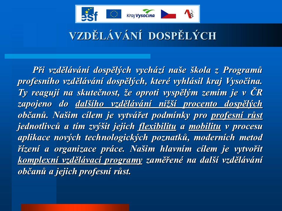 VZDĚLÁVÁNÍ DOSPĚLÝCH Při vzdělávání dospělých vychází naše škola z Programů profesního vzdělávání dospělých, které vyhlásil kraj Vysočina.