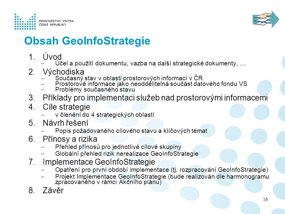 Obsah GeoInfoStrategie 1.Úvod  Účel a použití dokumentu, vazba na další strategické dokumenty, … 2.Východiska  Současný stav v oblasti prostorových