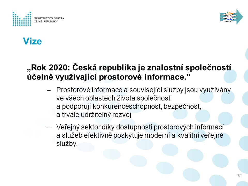 """""""Rok 2020: Česká republika je znalostní společností účelně využívající prostorové informace.""""  Prostorové informace a související služby jsou využívá"""