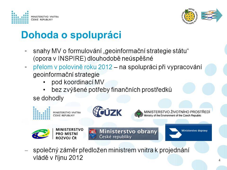"""4 Dohoda o spolupráci - snahy MV o formulování """"geoinformační strategie státu"""" (opora v INSPIRE) dlouhodobě neúspěšné - přelom v polovině roku 2012 –"""